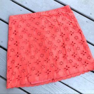 Loft Orange Eyelet skirt Sz 8